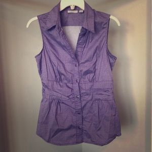 NY&C Stretch Purple Collared Top